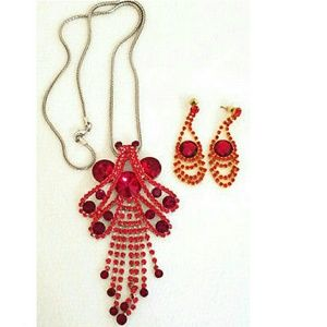 Jewelry - Necklace Pendant and Earrings Set Red Rhinestones